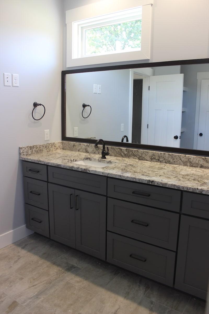 Master Bath Grey Custom Cabinets Mattawan Builder Berchiatti
